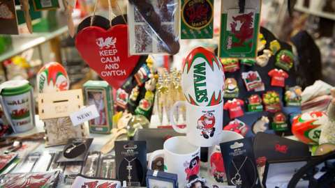 Welsh merchandise is displayed for sale in the market in Aberdare