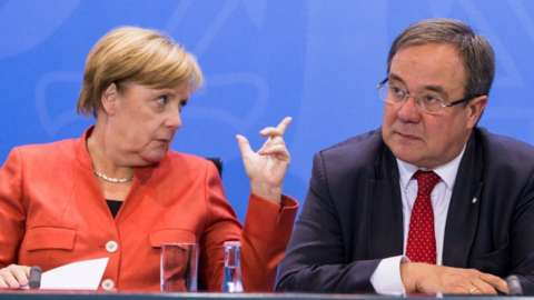 Chancellor Merkel and CDU's Armin Laschet in Berlin, 4 Sep 17