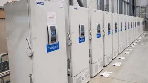 Freezers, at a secure location in the UK, which can each hold more than more than 80,000 doses of the Pfizer/BioNTech coronavirus vaccine