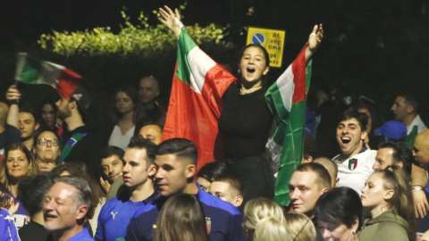 celebrations amongst people in Bedford at the Euro 2020 final