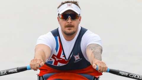 Benjamin Pritchard rowing at Poznan
