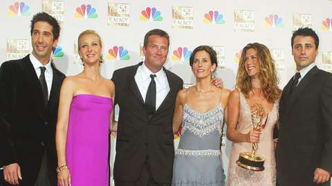 Apicture of the six main characters-Ross Phoebe, Chandler, Monica, Rachel and Joey- from the tv show friends.