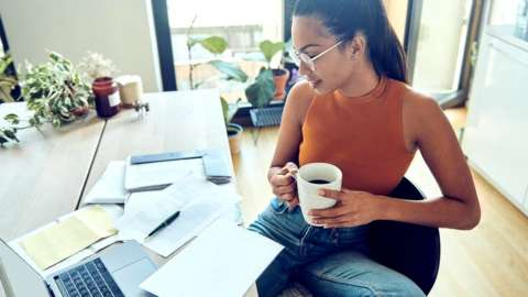 Woman checking her finances