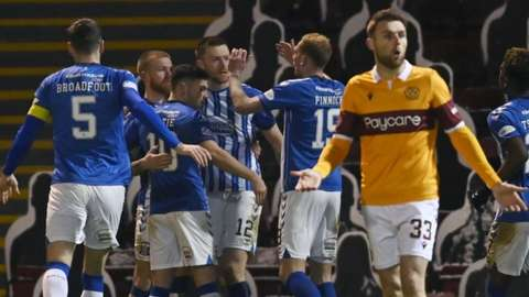 Kilmarnock celebrate their second goal at Fir Park