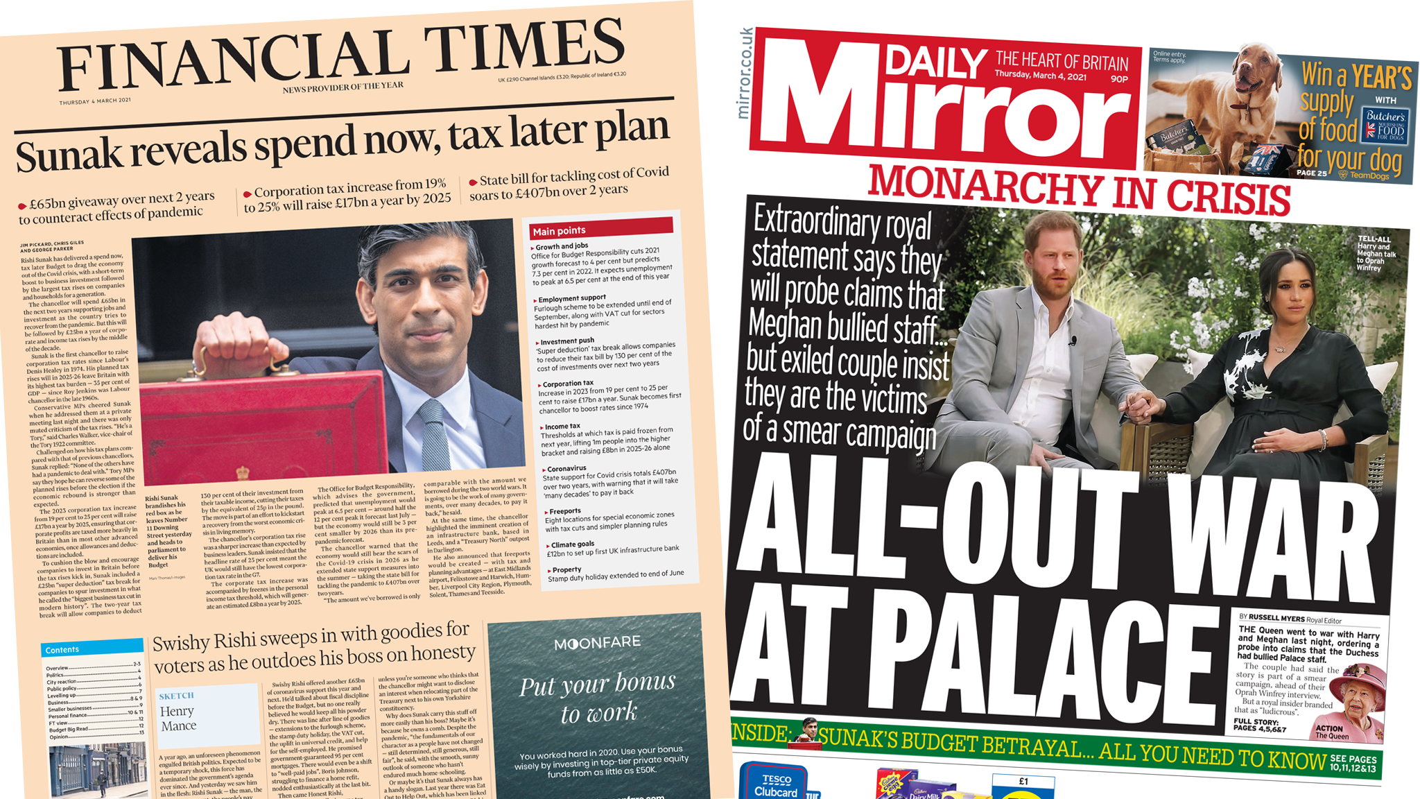 Financial Times and Mirror front pages