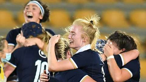 Scotland celebrate a dramatic Rugby World Cup 2021 qualifying win over Ireland