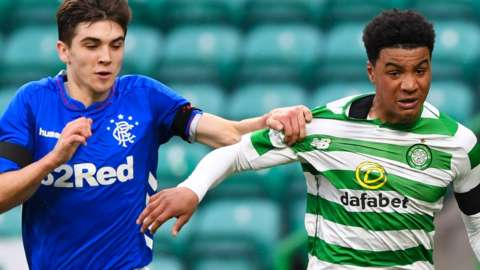 Celtic's Armstrong Oko-Flex competes with Cameron Palmer of Rangers