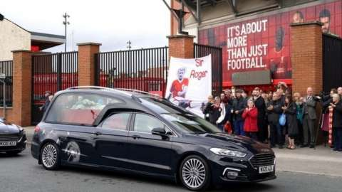 Hearse outside Liverpool FC's Anfield stadium