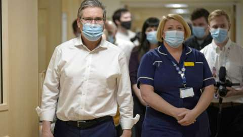 Keir Starmer during a visit to Royal Derby Hospital