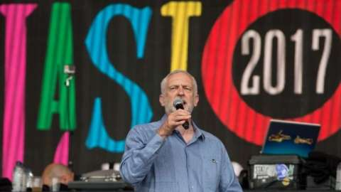 Jeremy Corbyn addresses the crowd from the Pyramid Stage at Glastonbury