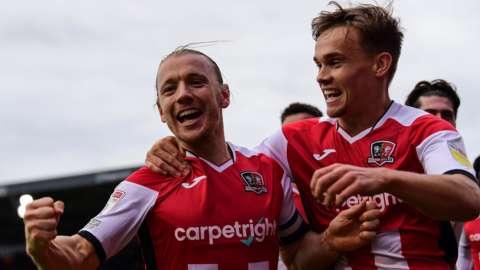 Matt Jay celebrates scoring against Mansfield Town