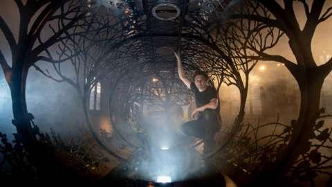Dan Rawlings inside his installation Future Returns