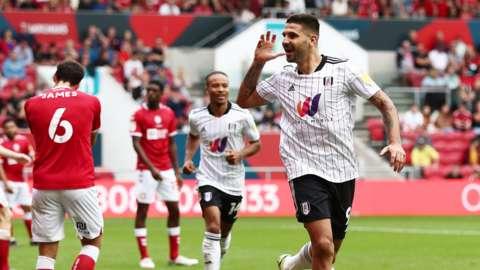 Mitrovic celebrates his goal against Bristol City