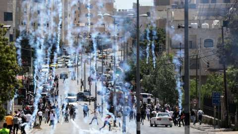 Palestinians gather during a protest against Israeli forces' attacks over Jerusalem and Gaza, on May 14, 2021 in Bethlehem, West Bank.
