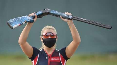 British skeet shooter Amber Hill celebrates