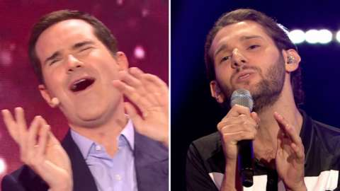Jimmy Carr and the referee singer