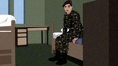 Artists impression of RAF trainee sitting on a bunk