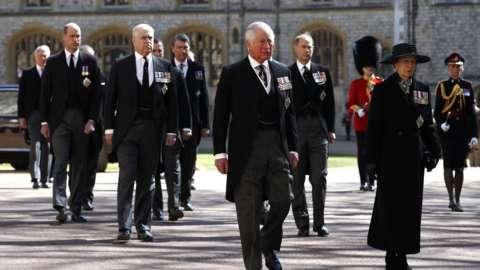 Senior royals walk behind Prince Philip's coffin