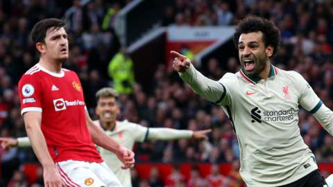 Mohamed Salah scores against Manchester United