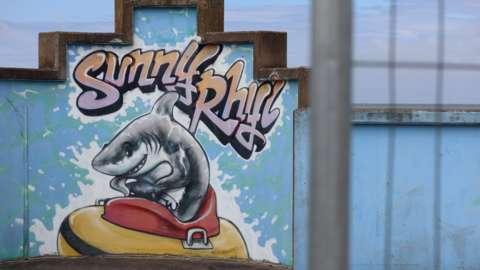 Mural of shark in Rhyl
