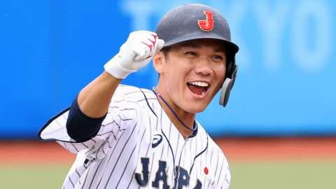 Hayato Sakamoto celebrating Japan's win