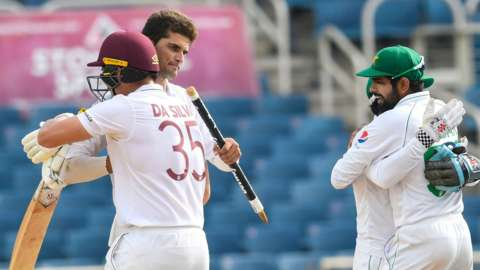 Pakistan's Shaheen Afridi and West Indies' Josh Da Silva hug after the end of the Test series