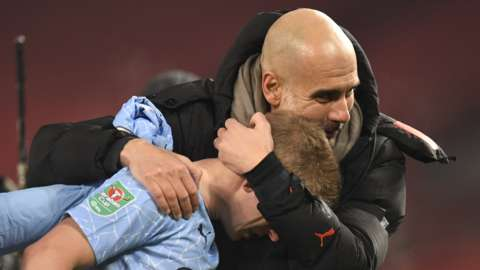 Manchester City boss Pep Guardiola and Kevin de Bruyne