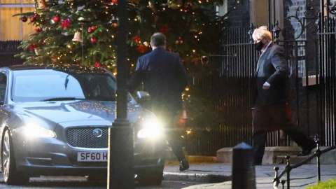 Boris Johnson leaving Downing Street for Brussels