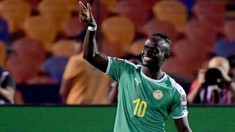 Sadio Mane celebrates scoring for Senegal against Uganda at the Africa Cup of Nations