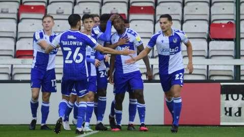 Bristol Rovers players celebrate