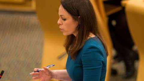 Finance Secretary Kate Forbes as she delivers the Scottish Budget to the Scottish Parliament