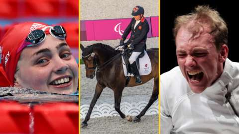 Split-image of Tully Kearney smiling after setting a new world record to win the S5 100m freestyle gold medal at the Tokyo Paralympics, plus Lee Pearson competing in the Para-dressage Grade II individual test and Piers Gilliver celebrating his gold in the men's individual epee fencing
