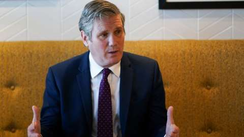 Labour Party leader Sir Keir Starmer during a visit to the Leeds United Foundation at Elland Road in Leeds.
