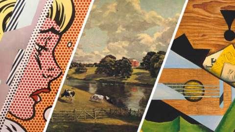 A split picture illustrating different art movements