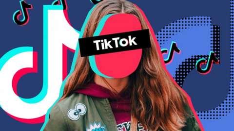 TikTok logo with an anonymous girl