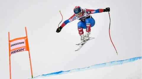Image shows the Lauberhorn ski race in 2019