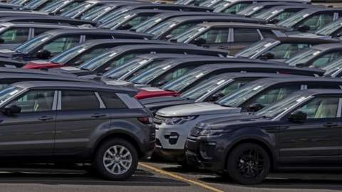 Completed Land Rover cars outside the factory at Halewood, Merseyside