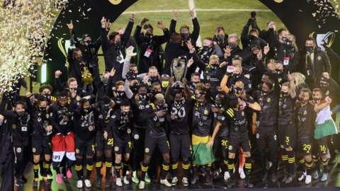 Columbus Crew celebrate winning the MLS Cup