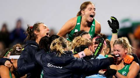 The Ireland women's hockey team celebrate Olympic qualification