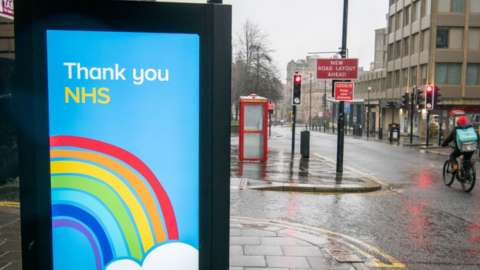 : General view of the Covid-19 'Thank you NHS' publicity campaign poster in Newcastle upon Tyne in the north of england during the third national lockdown