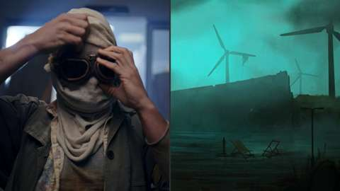 Split image: Left shows man in post-apocalyptic outfit, right shows a deserted landscape animation.