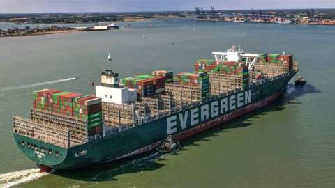 Ever Given at Felixstowe