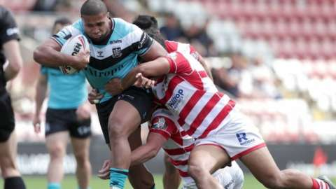 Hull FC's Tevita Satae is tackled during their Super League match at Leigh last month