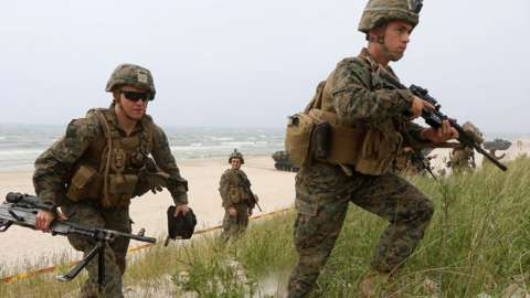US troops on Nato exercise in Lithuania, 4 Jun 18