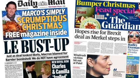 Composite image of the Daily mail and Guardian front pages