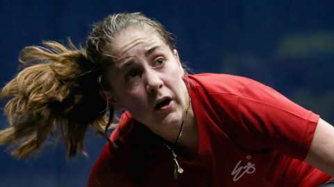 Tesni Evans in action for Wales at the 2018 Commonwealth Games