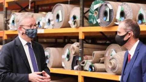 Michael Gove visiting a carpet factory in Portadown