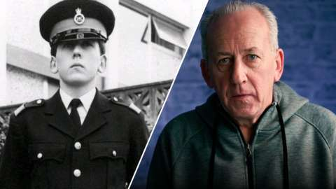 Split image of Peter Bleksley as a police officer and now