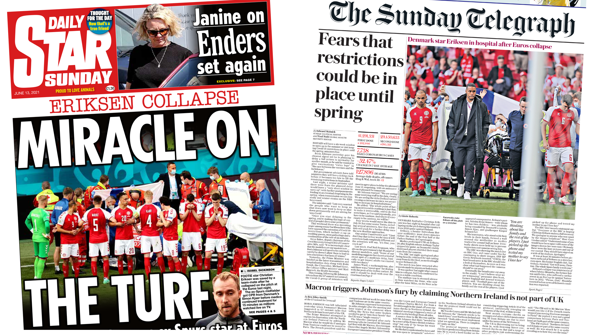 Daily Star Sunday front and Sunday Telegraph front pages
