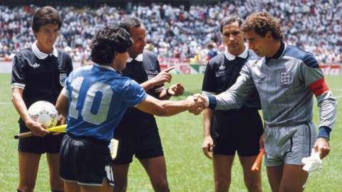 Diego Maradona and Peter Shilton shake hands before the Argentina v England quarter-final at the 1986 Fifa World Cup